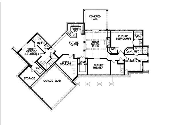 Farmhouse Floor Plan - Lower Floor Plan Plan #54-384