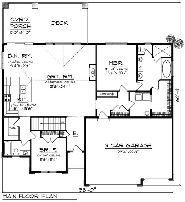 Ranch Floor Plan - Main Floor Plan Plan #70-1270