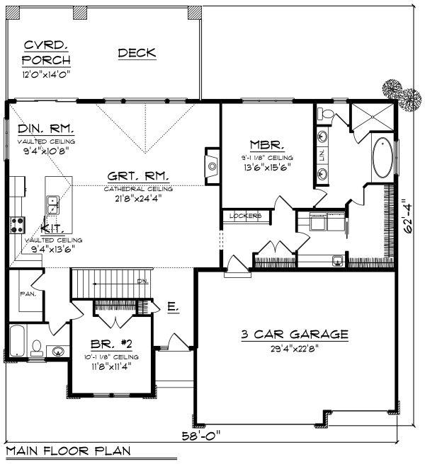House Design - Ranch Floor Plan - Main Floor Plan #70-1270