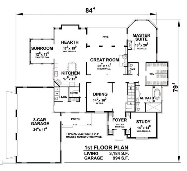 European Floor Plan - Main Floor Plan Plan #20-2203