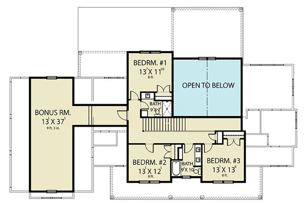 Farmhouse Floor Plan - Upper Floor Plan Plan #1070-55