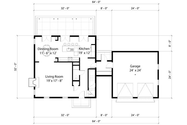 Colonial Floor Plan - Main Floor Plan Plan #497-19