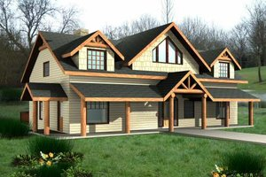 Cabin Exterior - Front Elevation Plan #117-573