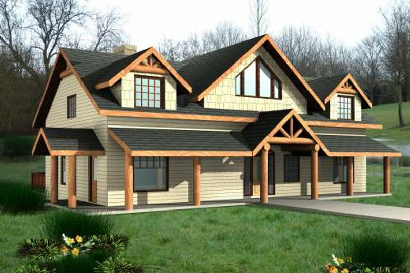 Cabin Exterior - Front Elevation Plan #117-573
