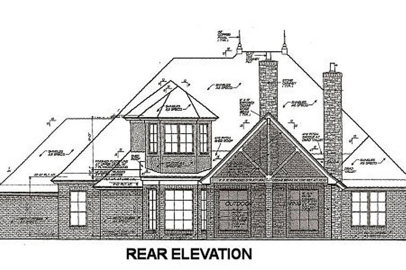 European Exterior - Rear Elevation Plan #310-667 - Houseplans.com