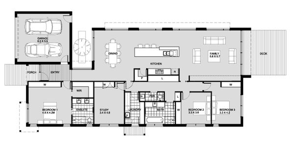 Modern Floor Plan - Main Floor Plan #496-24