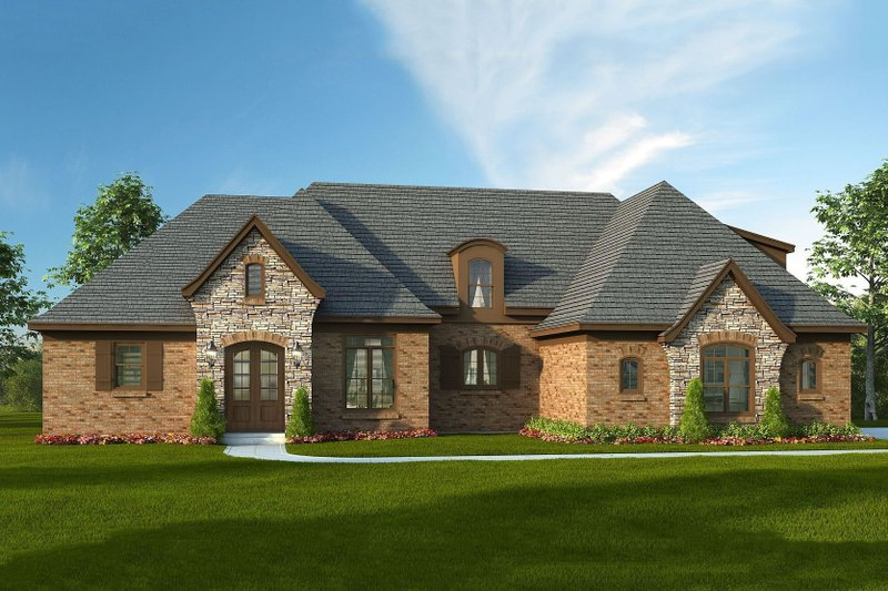European Style House Plan - 4 Beds 3.5 Baths 3500 Sq/Ft Plan #932-5 Exterior - Front Elevation