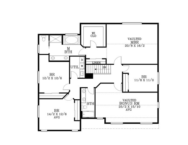 Craftsman Floor Plan - Upper Floor Plan Plan #53-590