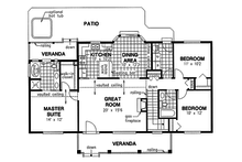 Country style house plan, ranch floor plan, main level