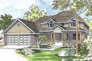 Country Exterior - Front Elevation Plan #124-446