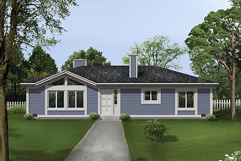 Ranch Style House Plan - 2 Beds 2 Baths 1400 Sq/Ft Plan #57-457 Exterior - Front Elevation