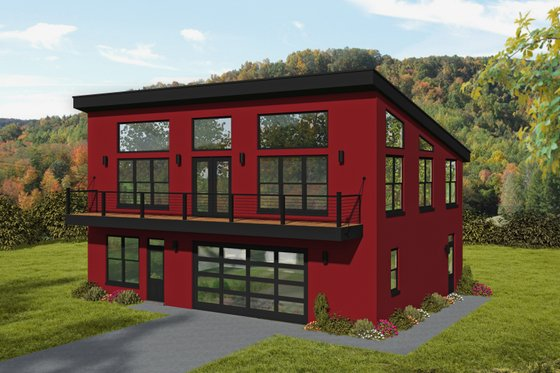 Modern Exterior - Front Elevation Plan #932-371
