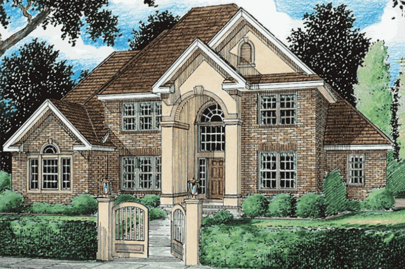 European Exterior - Front Elevation Plan #20-286