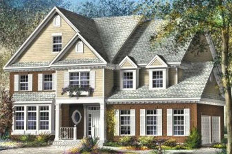 Traditional Style House Plan - 4 Beds 2.5 Baths 5165 Sq/Ft Plan #25-4142 Exterior - Front Elevation