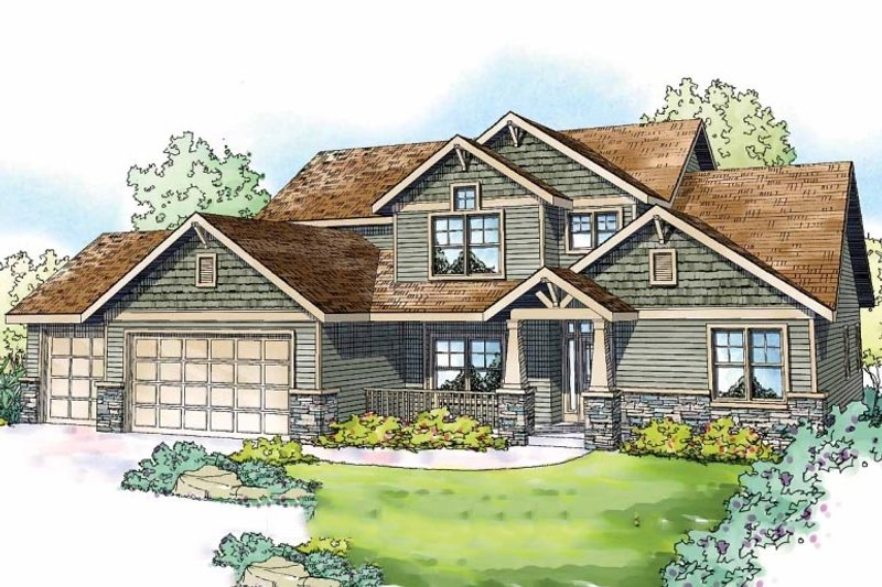 Craftsman Style House Plan - 4 Beds 3.5 Baths 2963 Sq/Ft Plan #124-819 Exterior - Front Elevation