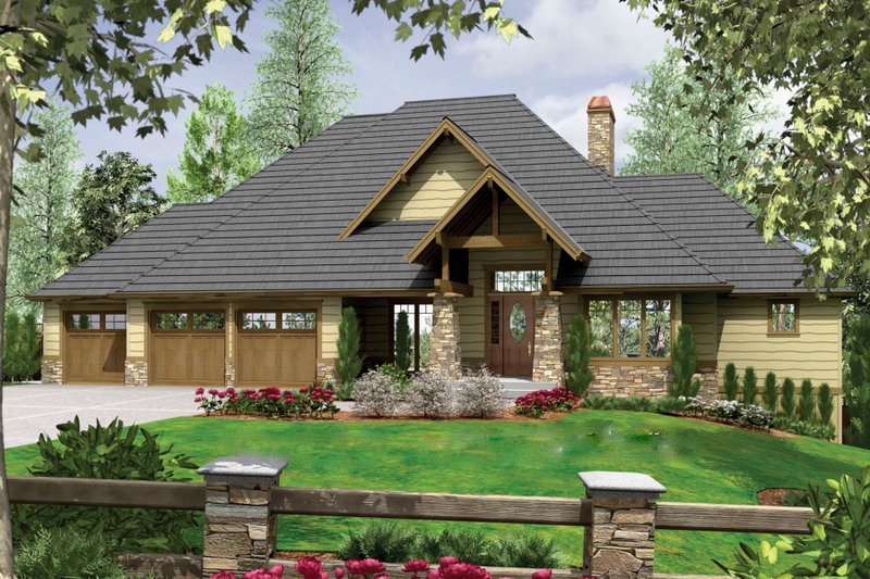 Craftsman Exterior - Front Elevation Plan #48-543