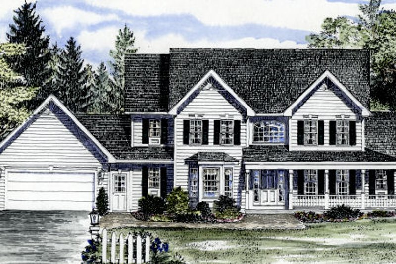 Country Style House Plan - 4 Beds 4.5 Baths 2721 Sq/Ft Plan #316-119 Exterior - Front Elevation