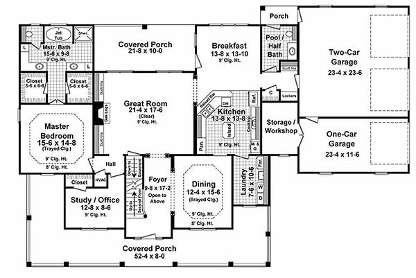 Country Floor Plan - Main Floor Plan Plan #21-323