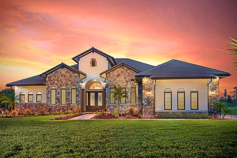 Dream House Plan - Mediterranean Exterior - Front Elevation Plan #938-90