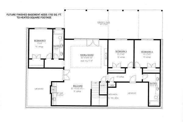 Craftsman Floor Plan - Lower Floor Plan Plan #437-103