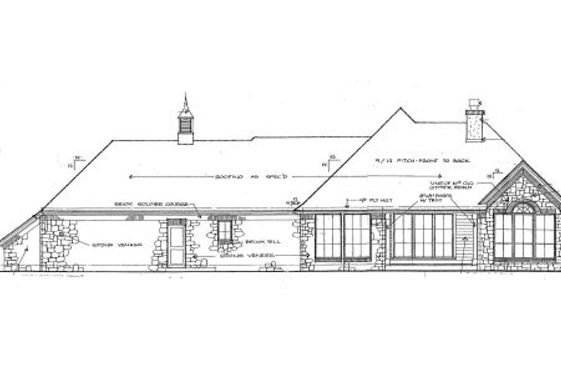 European Exterior - Rear Elevation Plan #310-646 - Houseplans.com