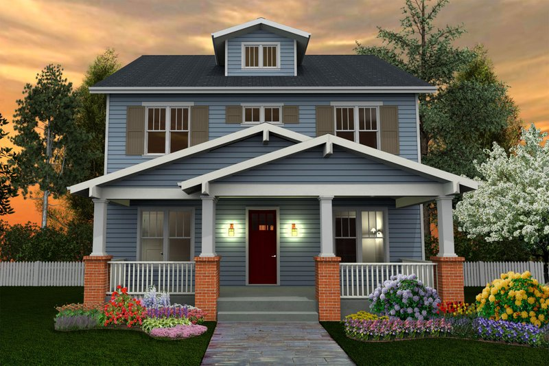 Craftsman Style House Plan - 6 Beds 5 Baths 4199 Sq/Ft Plan #461-40 Exterior - Front Elevation