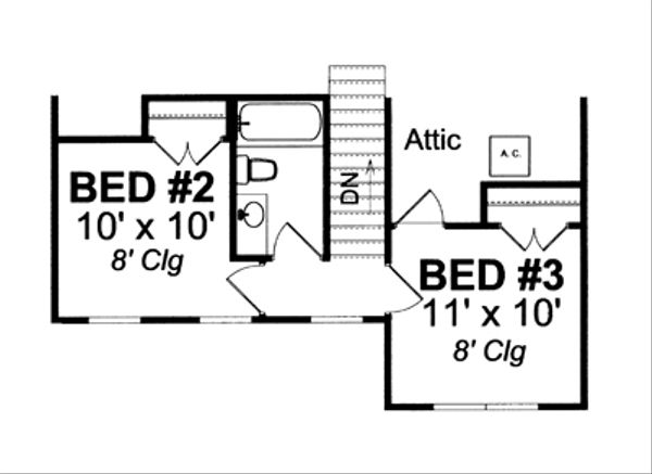 Country Floor Plan - Upper Floor Plan Plan #513-2056