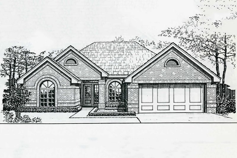 Traditional Style House Plan - 3 Beds 2 Baths 1664 Sq/Ft Plan #310-178 Exterior - Front Elevation
