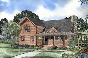 Log Exterior - Front Elevation Plan #17-474
