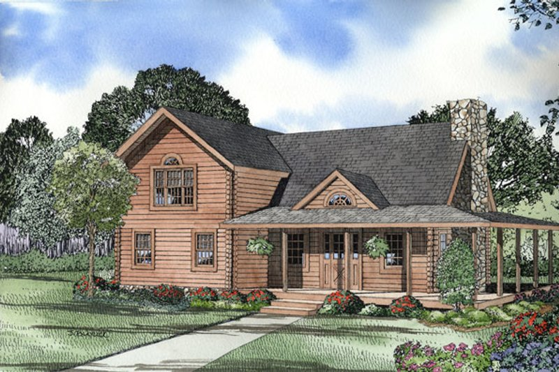 Log Style House Plan - 3 Beds 2.5 Baths 1684 Sq/Ft Plan #17-474 Exterior - Front Elevation