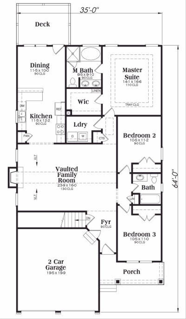 Farmhouse Floor Plan - Main Floor Plan Plan #419-107