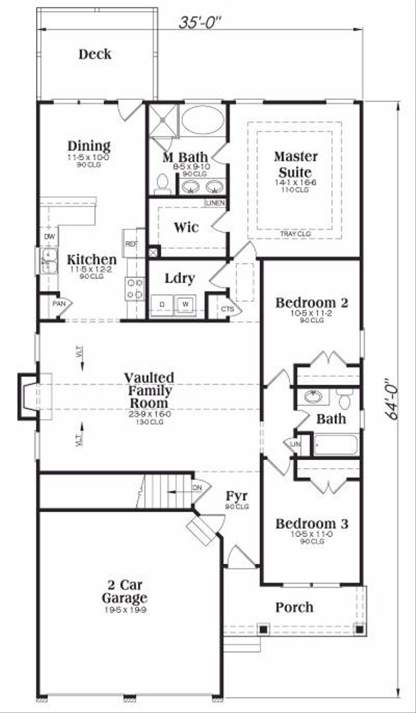 Farmhouse Floor Plan - Main Floor Plan Plan #419-107