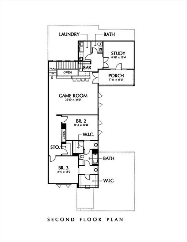 Modern Style House Plan - 3 Beds 3 Baths 3928 Sq/Ft Plan #449-1 Floor Plan - Upper Floor Plan