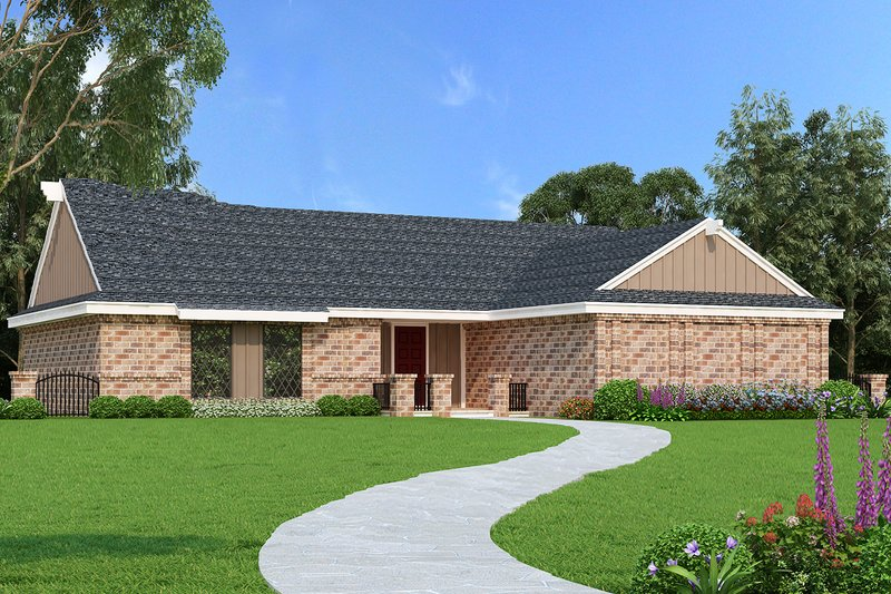 Ranch Exterior - Front Elevation Plan #45-554