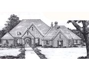 European Style House Plan - 4 Beds 3.5 Baths 3499 Sq/Ft Plan #310-941 Exterior - Front Elevation