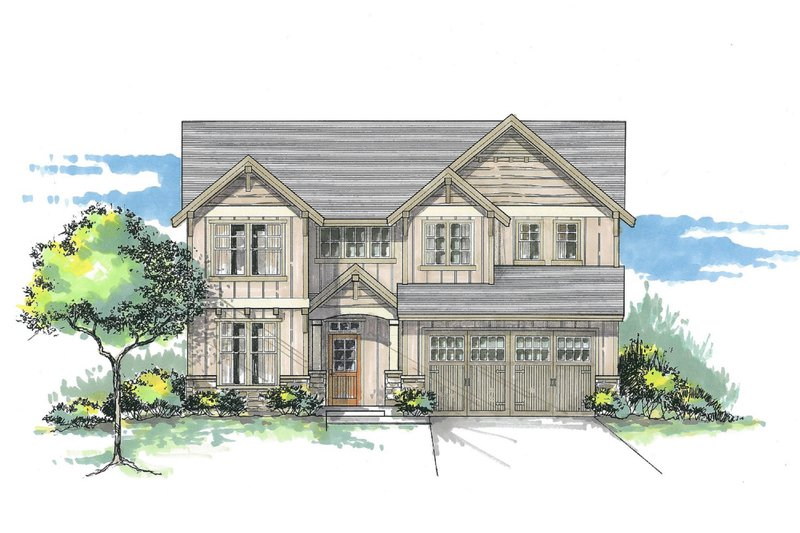 Craftsman Style House Plan - 5 Beds 3.5 Baths 3102 Sq/Ft Plan #53-471 Exterior - Front Elevation