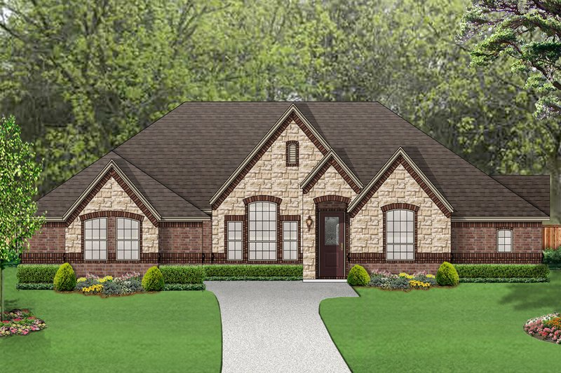 European Style House Plan - 4 Beds 3 Baths 2715 Sq/Ft Plan #84-617 Exterior - Front Elevation