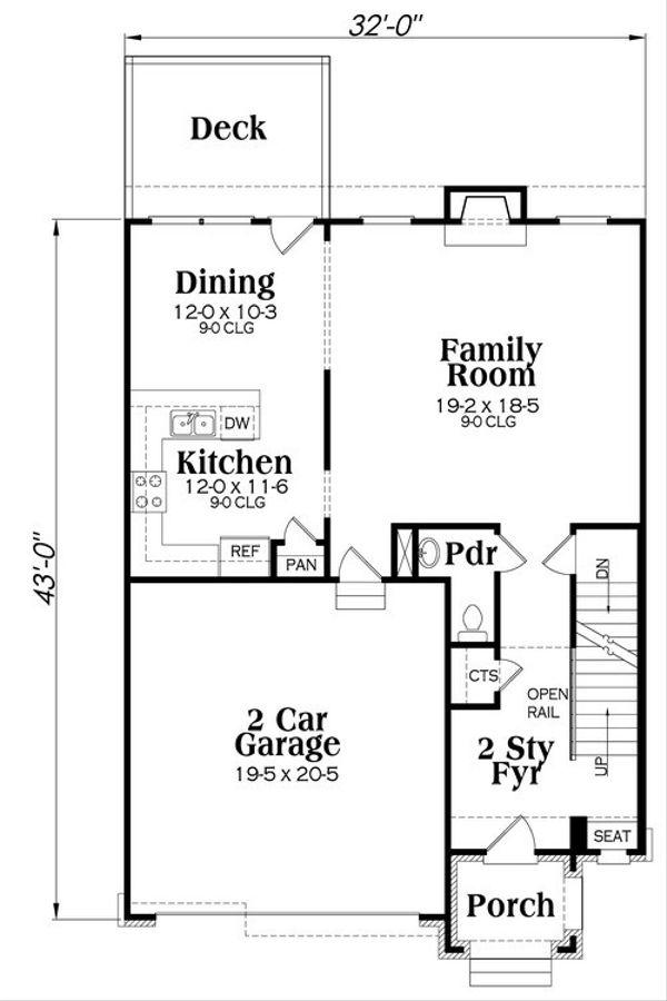 Traditional Floor Plan - Main Floor Plan Plan #419-255