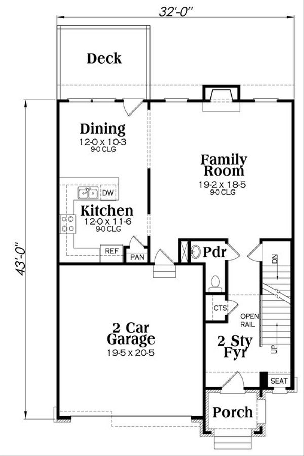 Traditional Floor Plan - Main Floor Plan Plan #419-255