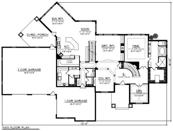 Traditional Floor Plan - Main Floor Plan Plan #70-1296