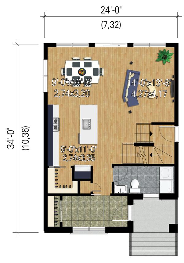 Contemporary Floor Plan - Main Floor Plan Plan #25-4429