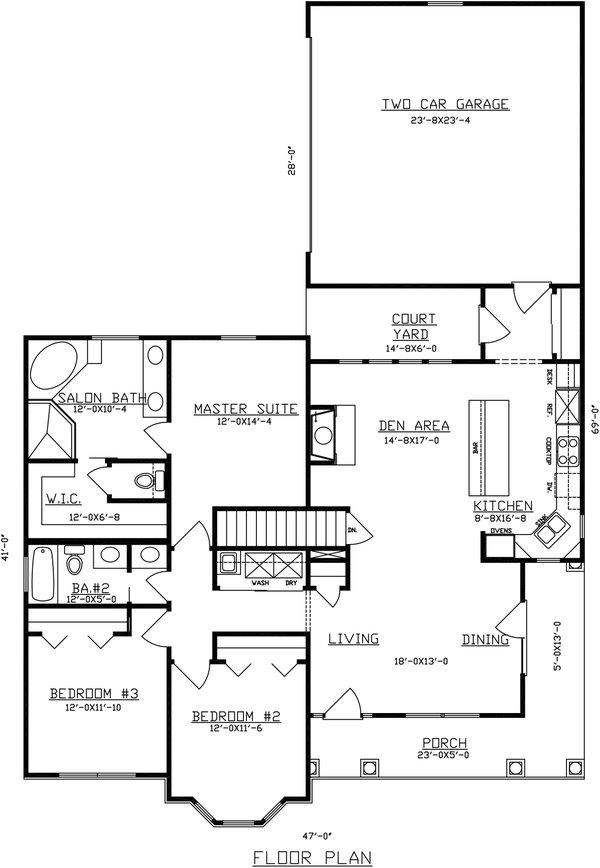 Dream House Plan - Traditional Floor Plan - Main Floor Plan #405-340