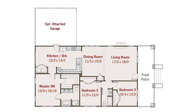 Craftsman Style House Plan - 3 Beds 2 Baths 1728 Sq/Ft Plan #461-26 Floor Plan - Main Floor Plan