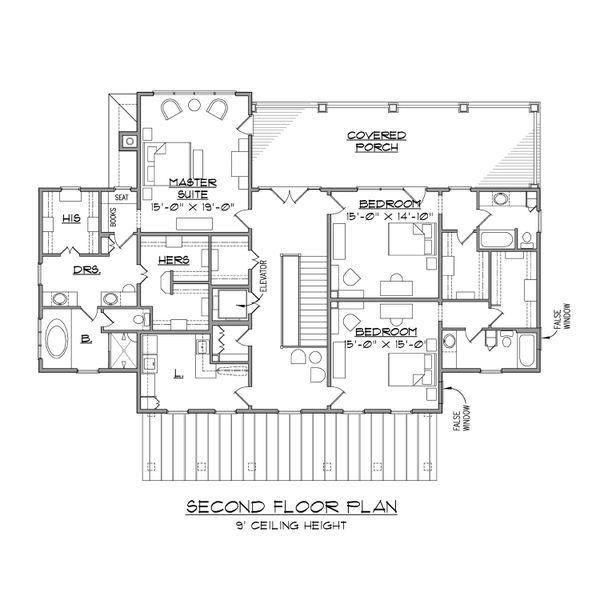 Beach Floor Plan - Upper Floor Plan Plan #1054-84