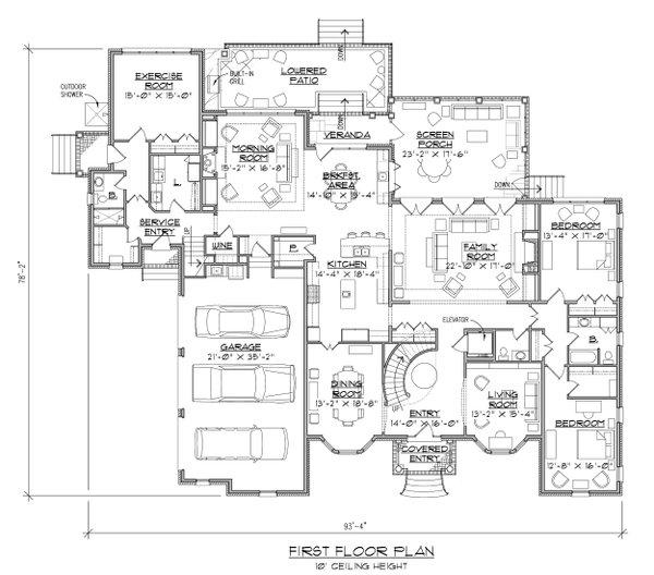 Dream House Plan - Traditional Floor Plan - Main Floor Plan #1054-22