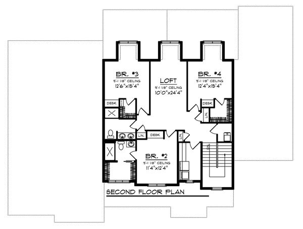 Craftsman Floor Plan - Upper Floor Plan Plan #70-1470