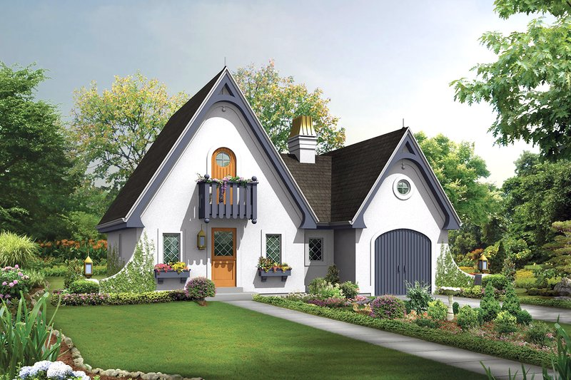 European Style House Plan - 1 Beds 1 Baths 1075 Sq/Ft Plan #57-675 Exterior - Front Elevation