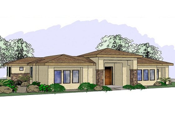 Adobe / Southwestern Exterior - Front Elevation Plan #24-234