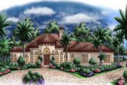 Mediterranean Style House Plan - 4 Beds 4.5 Baths 5275 Sq/Ft Plan #27-516 Exterior - Front Elevation