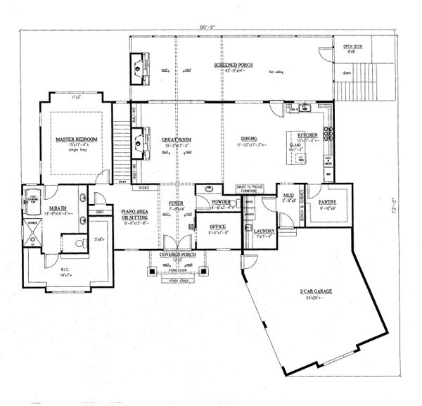 Architectural House Design - Craftsman Floor Plan - Main Floor Plan #437-95